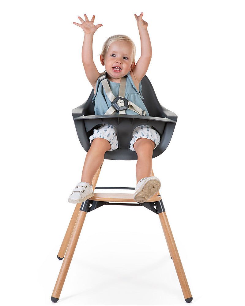 Seggiolone Evolutivo Evolu 2 Chair Antracite/Legno Childhome - Decochic