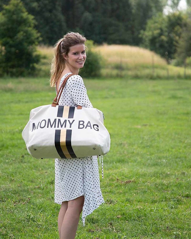 Changing Bag Mommy Stripes Black / Gold Childhome - Decochic