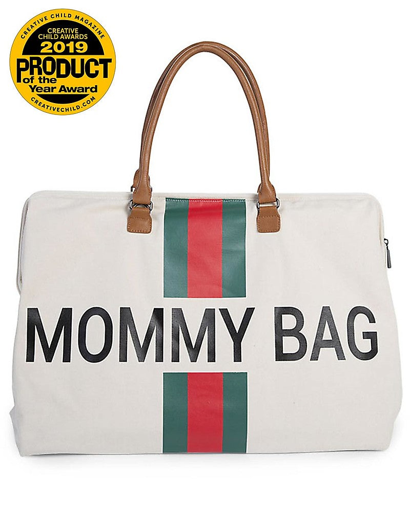 Changing Bag Mommy Stripes Green / Red Childhome - Decochic
