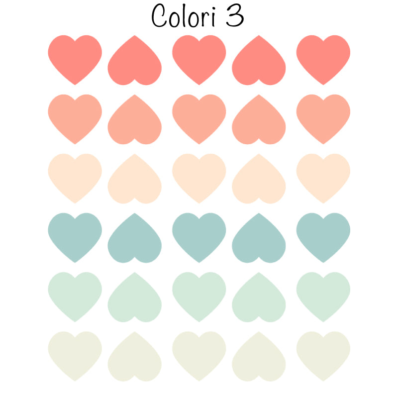 Colored Hearts Stickers-More Color Variations Available-Decochic
