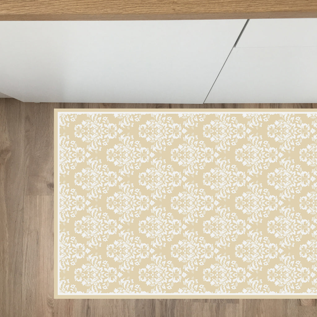 Tappeto in Vinile 50x191 cm Damasco Beige - Decochic