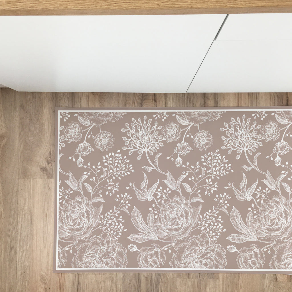 Country Flowers Vinyl Rug - More Colors Available - Decochic