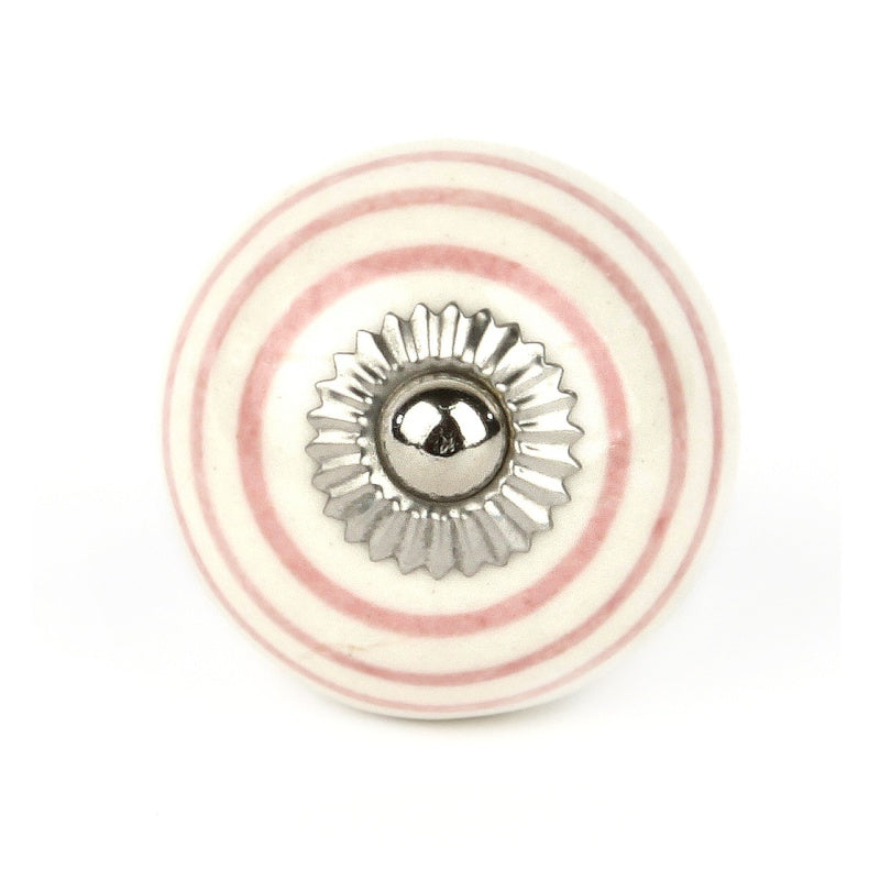 Large White Knob with Pink Stripes - Decochic
