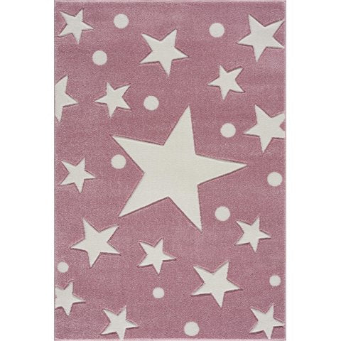 Tappeto Camerette bambine Rosa a Stelle Bianche - Decochic