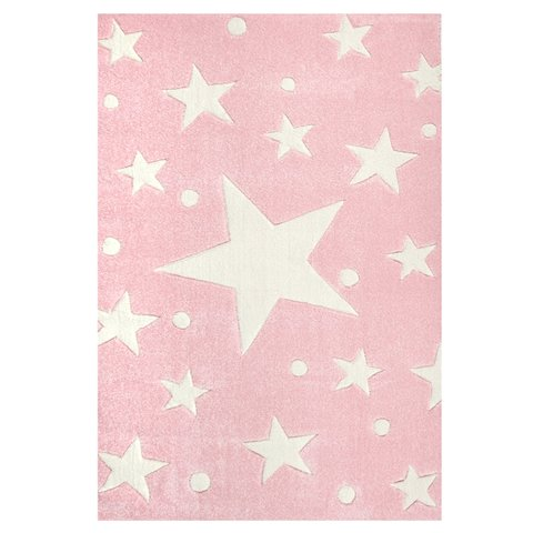 Tappeto Rosa a Stelle Bianche - Decochic