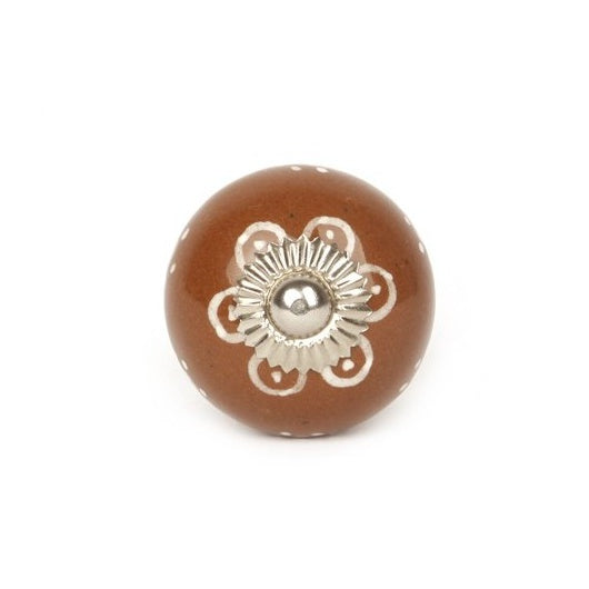 Pomello in Ceramica Girasole Marrone - Decochic