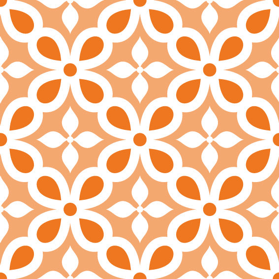50x100 Orange Mosaic Vinyl - Decochic