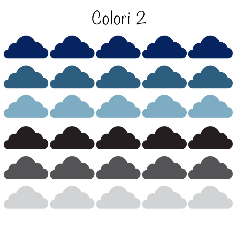 Colored Cloud Stickers - More Color Variations Available - Decochic