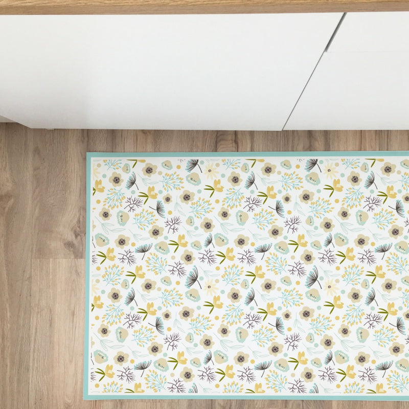 Colorful Flowers Vinyl Rug - Decochic