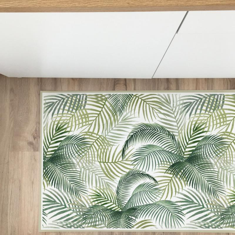 Tropical watercolor vinyl rug 100x350 cm - Decochic