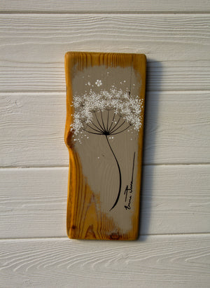 Small Cow Parsley fine flower head  soft taupe reclaimed wood