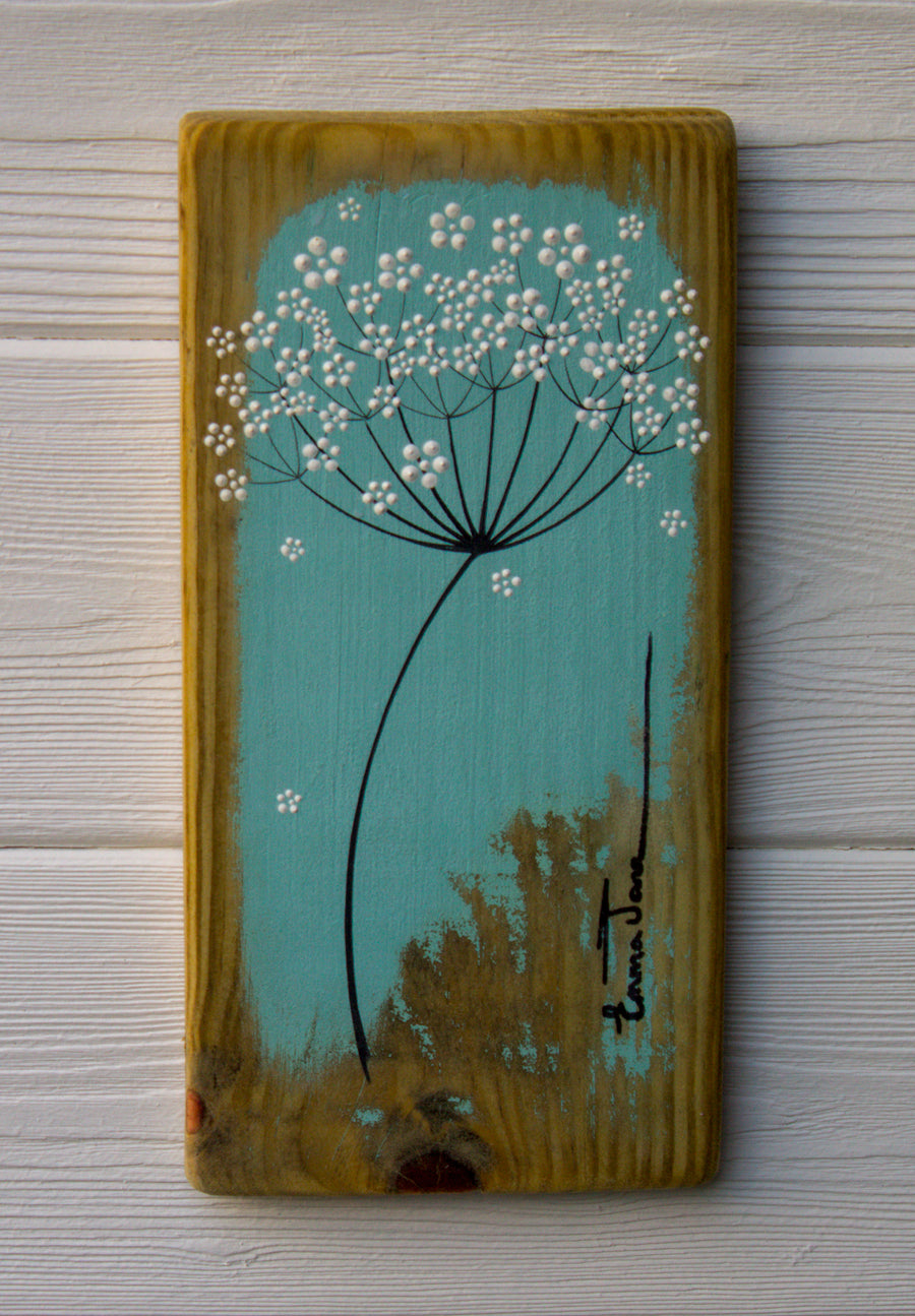 Small Cow Parsley large flower head turquoise reclaimed wood
