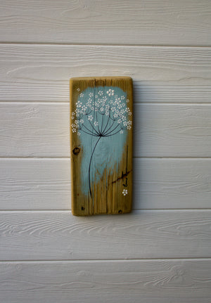 Small Cow Parsley large flower head soft grey blue reclaimed wood