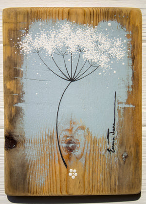 Small Cow Parsley fine flower head soft grey blue reclaimed wood