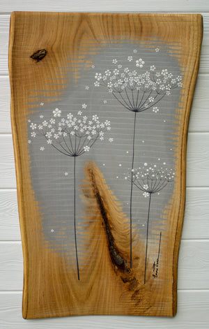 Large Cow Parsley Large Flower head Mid grey Live Edge Wood