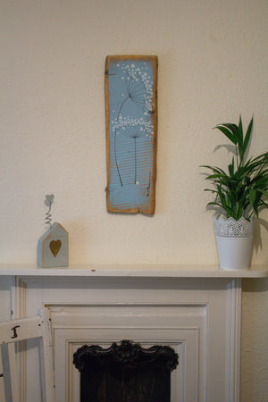 Medium cow parsley soft sky blue reclaimed wood painting