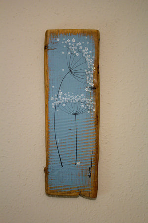 Medium cow parsley soft sky blue reclaimed wood painting close up
