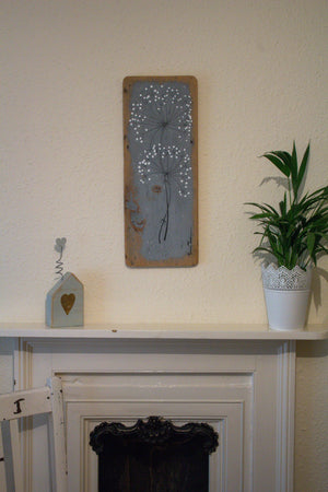 Large wild flower soft grey reclaimed wood painting