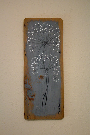Large wild flower soft grey reclaimed wood painting close up