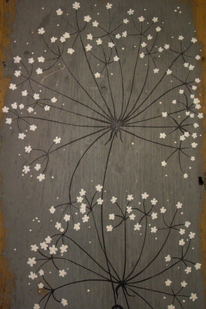 Large wild flower soft grey reclaimed wood painting closer up
