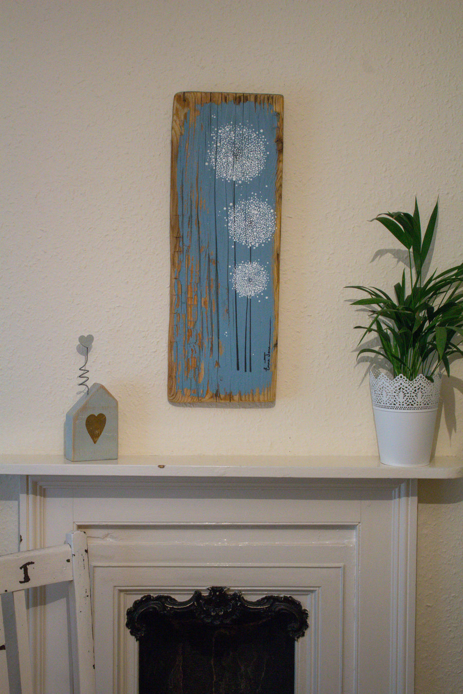 Large Dandelions grey blue reclaimed wood painting