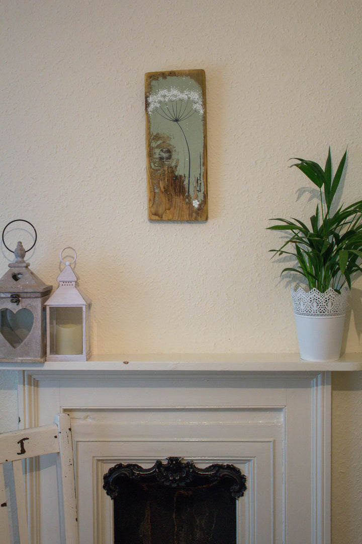 Small cow parsley soft sage green reclaimed wood painting