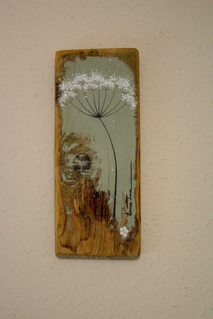 Small cow parsley soft sage green reclaimed wood painting close up