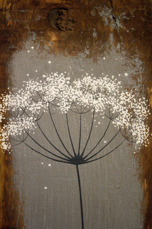 Small cow parsley mid grey reclaimed wood painting closer up