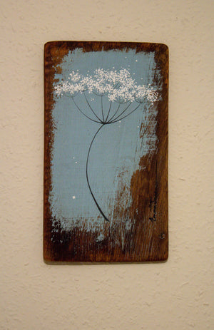 Small cow parsley mid sky blue reclaimed wood painting close up