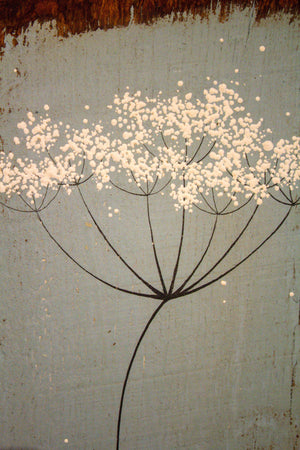 Small cow parsley mid sky blue reclaimed wood painting closer up