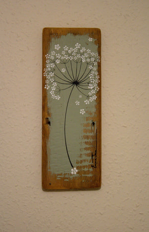 Small Cow Parsley large flower head light sage green reclaimed wood painting close up