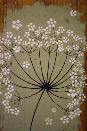 Small Cow Parsley large flower head light sage green reclaimed wood painting closer up