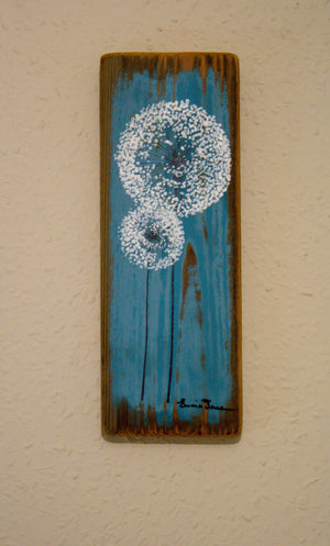 Small Dandelions mid tonal blue reclaimed wood painting close up