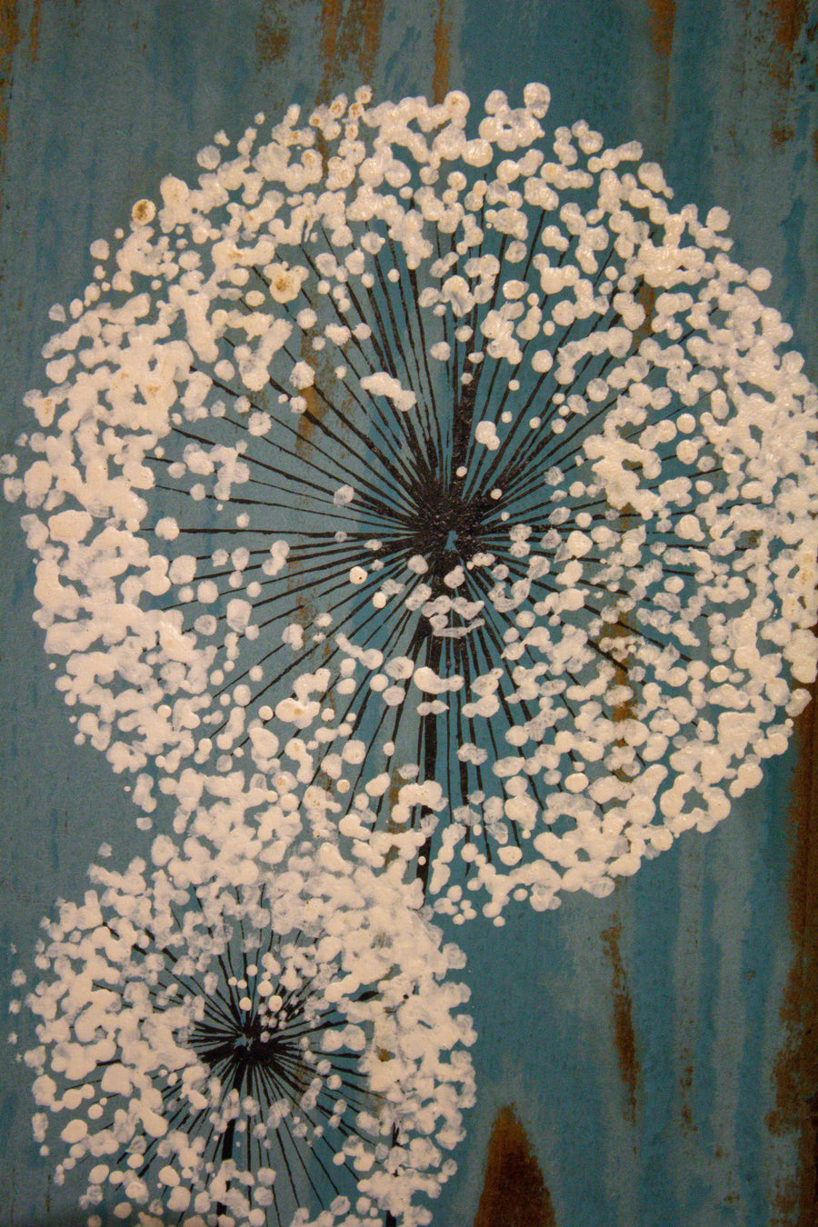 Small Dandelions mid tonal blue reclaimed wood painting closer up