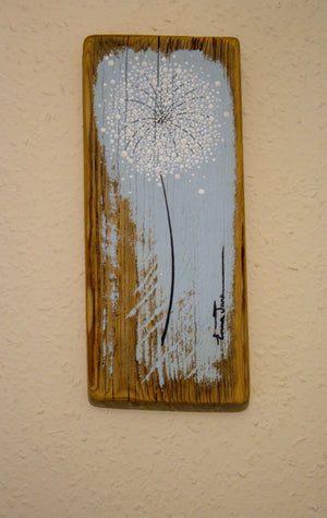 Small Dandelion pale duck egg blue reclaimed wood painting close up