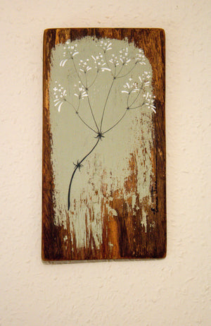 Small Hedge Bedstraw sage green reclaimed wood painting close up