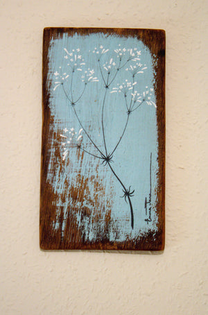 Small Hedge Bedstraw soft duck egg blue reclaimed wood painting close up