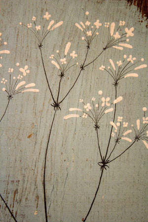 Small Hedge Bedstraw soft duck egg blue reclaimed wood painting closer up