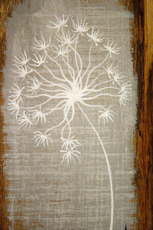 Small Dandelion skeleton light grey reclaimed wood painting closer up