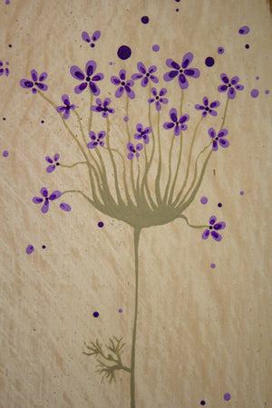 Small Agapanthus on antique white mid purple and olive green painting closer up
