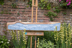 XXL cow parsley blue/grey live edge wood painting