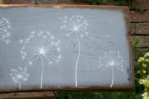 X.L Dandelion Skeletons mid grey live edge wood painting close up