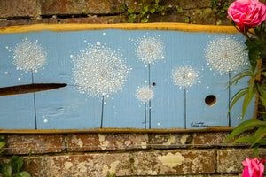 XXL Dandelions sky blue live edge wood painting outside