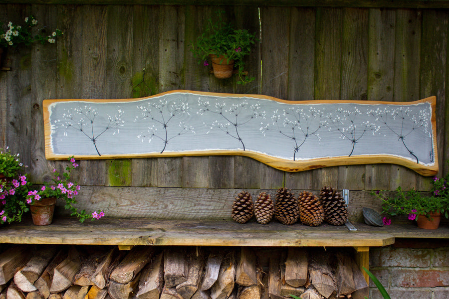 XXL Hedge Bedstraw light grey live edge wood painting