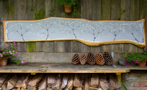 XXL Hedge Bedstraw light grey live edge wood painting outside