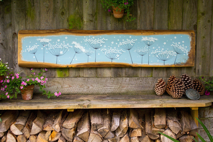 XXL Cow Parsley sky blue live edge wood painting
