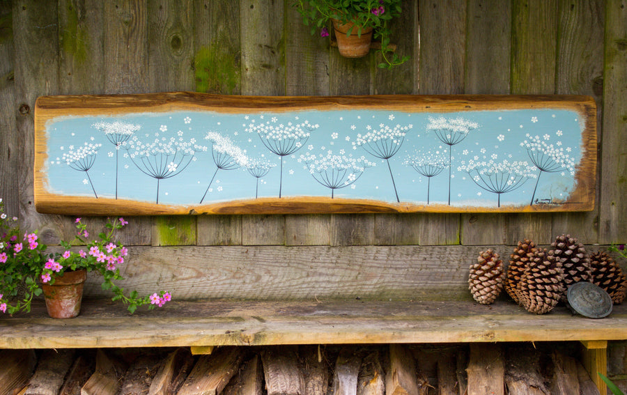 XXL Cow Parsley sky blue live edge wood painting outside