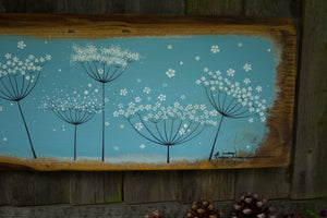 XXL Cow Parsley sky blue live edge wood painting close up