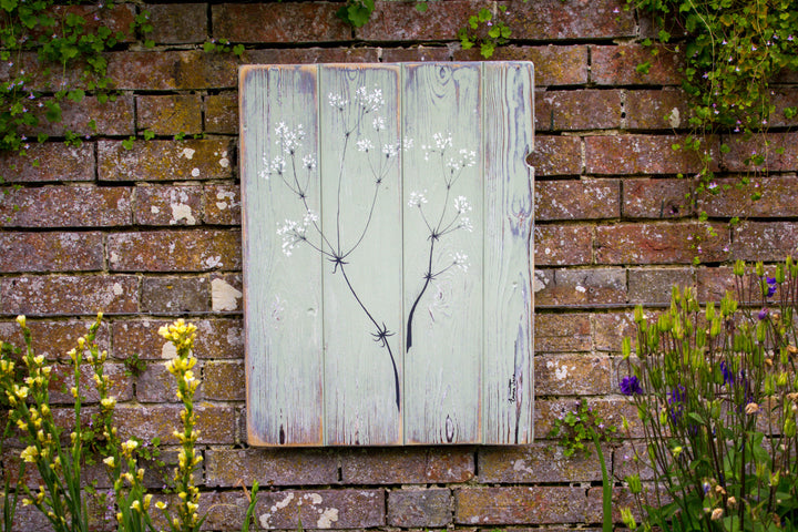 Hedge Bedstraw sage green / grey reclaimed wooden boards painting