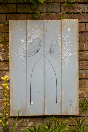Cow Parsley duck egg blue / sage green reclaimed wooden board painting